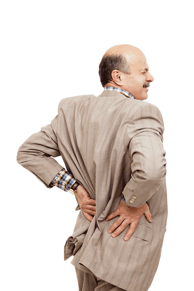 middle aged man holding his lower back