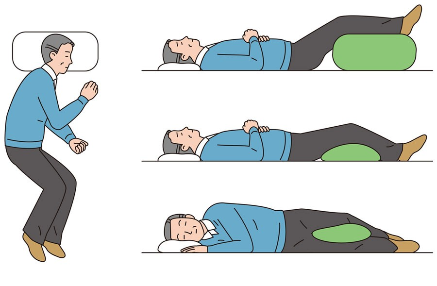 image of man sleeping in best positions for back and sciatica pain relief