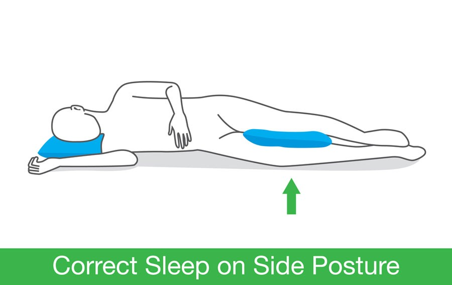 image of side sleeping position for lower back and sciatica nerve pain