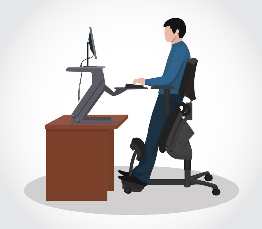 graphic of man using standing desk to prevent back pain